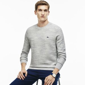 Men's Bicolor Moss Stitch Crew Neck Sweater | LACOSTE
