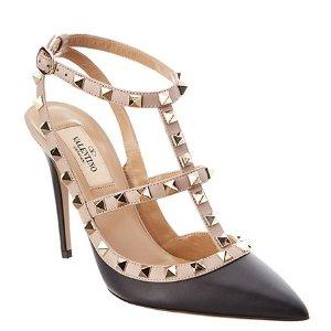Valentino Rockstud Leather Ankle Strap Pump