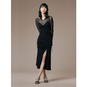 Long-Sleeve Overlay Mesh Dress
