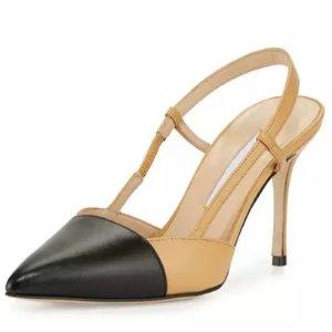 Manolo Blahnik Evocity Two-Tone Pointed-Toe Pump, Black/Beige