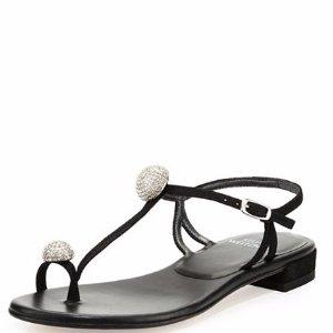 Stuart Weitzman Ballsoffire Crystal T-Strap Flat Sandal