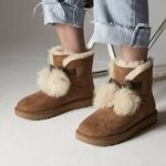 UGG® Women's Gita Sheepskin & Fur Pom-Pom Booties