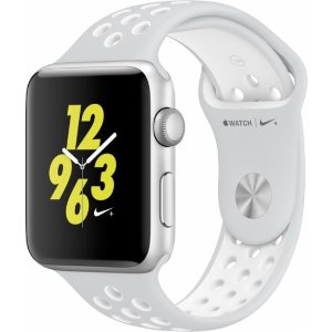 Apple Apple Watch Nike+ 42mm Silver Aluminum Case Pure Platinum/White Nike Sport Band Silver MQ192LL/A - Best Buy