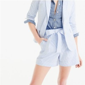 Tie-waist short in shirting stripe