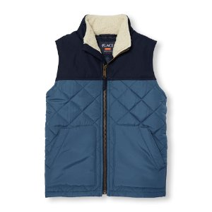 Boys Mix-Fabric Quilted Zip-Up Vest | The Children's Place