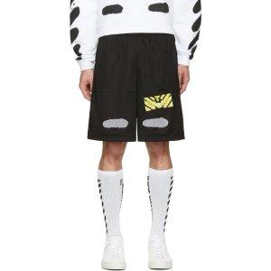 Off-White: Black Spray Brushed Diagonals Shorts