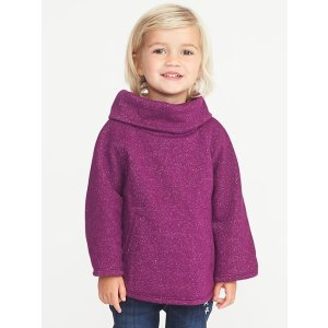 Cowl-Neck Sparkle Poncho for Toddler Girls