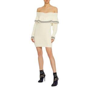 Ruffled Wool and Cotton-Blend Sweater Dress