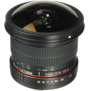 Samyang 8mm f/3.5 HD Fisheye Manual Focus Lens w/Removable Hood for Canon SYHD8M-C