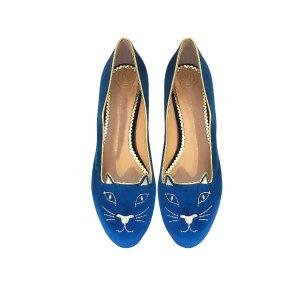 Charlotte Olympia Dark Blue Velvet Kitty Flats