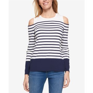 Tommy Hilfiger Striped Cold-Shoulder Top, Only at Macy's - Tops - Women - Macy's