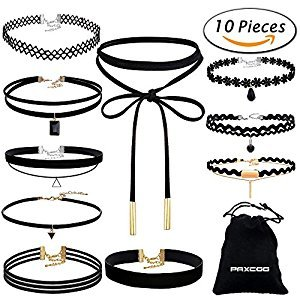 Amazon.com: Paxcoo CN-01 Black Velvet Choker Necklaces with Storage Bag for Women Girls, Pack of 10: Arts, Crafts & Sewing
