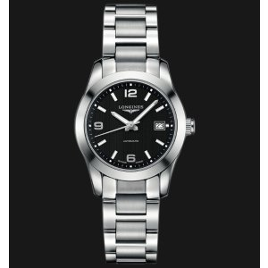 Conquest Classic Black Dial Stainless Steel Ladies Watch L22854566