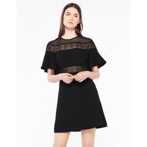 Lace Dress And Cape-Effect Sleeves - Dresses - Sandro-paris.com