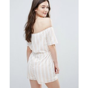 Parisian Stripe Off Shoulder Romper