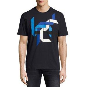 Neil Barrett Origami-Print Crewneck T-Shirt, Navy