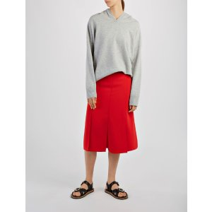 Stretch Flou Lark Skirt in Ruby | JOSEPH