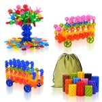 QuadPro Brain Flakes 570 Piece with 4 Set Wheels Plastic Discs Snowflake Building Blocks Set