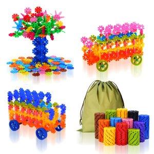 $13.85QuadPro Brain Flakes 570 Piece with 4 Set Wheels Plastic Discs Snowflake Building Blocks Set