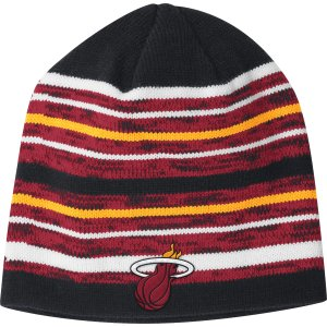 adidas Men's Miami Heat Team-Color Striped Knit Hat