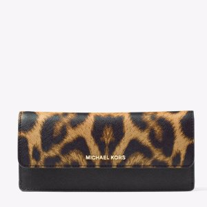Jet Set Travel Leopard Saffiano Leather Wallet