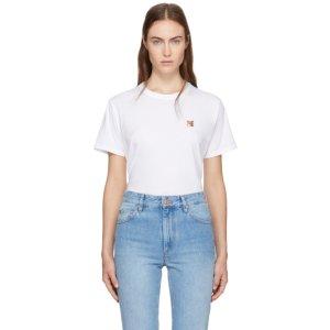Maison Kitsuné - White Fox Head Patch T-Shirt