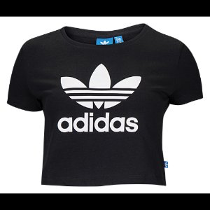 adidas Originals Trefoil Slim Crop T-Shirt - Women's - Casual - Clothing - Black/White