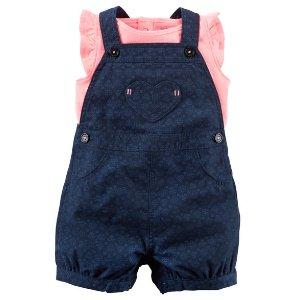 Baby Girl 2-Piece Neon Top & Shortalls Set | Carters.com