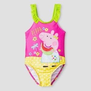 Toddler Girls' Peppa Pig® One Piece Swimsuit - Yellow & Pink : Target