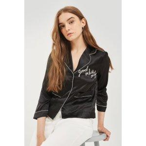 'Vibes' Satin Pyjama Shirt - Shop All Black Friday Offers - Sale