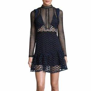 Self-Portrait Hall Geometric-Lace Mini Dress