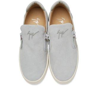 Giuseppe Zanotti: Grey Suede London Slip-On Sneakers