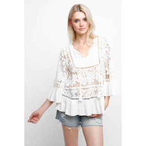 Plenty by Tracy Reese Romantic Lace ¾ Sleeve Blouse   South Moon Under
