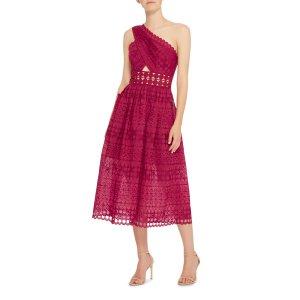 One-Shoulder Guipure Lace Dress