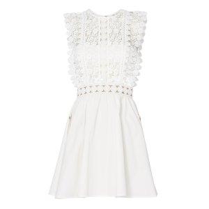 Floral Lace Poplin Mini Dress
