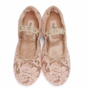 Valentino Beige Lace Rockstud Ballerina Flats