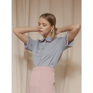 YUPPE frill collar shirts_skyblue
