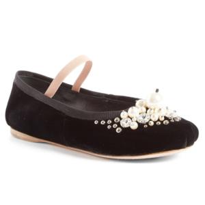 Miu Miu Embellished Ballet Flat (Women)