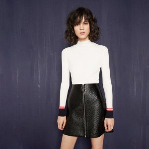 JUNA Short embossed vinyl skirt - Skirts & Shorts - Maje.com