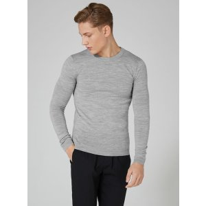 Light Gray Muscle Fit Merino Sweater - Cardigans & Sweaters - Clothing - TOPMAN USA