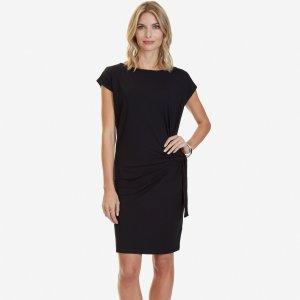 Solid Side Tie Dress - True Black | Nautica