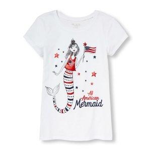 Girls Americana Short Sleeve Glitter 'All American Mermaid' Graphic Tee | The Children's Place