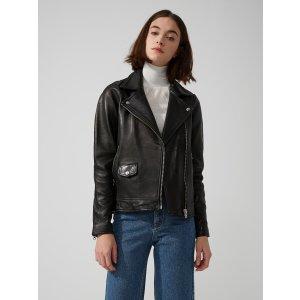 Leather Biker Jacket in True Black | Frank And Oak