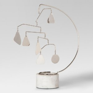 Metal and Marble Mobile Sculpture - Silver/White - Project 62™