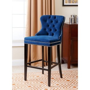 Abbyson Versailles 30-inch Navy Blue Tufted Bar Stool | Overstock.com Shopping - The Best Deals on Bar Stools
