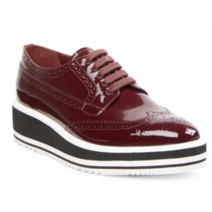 Prada - Patent Leather Brogue Platform Oxfords - saks.com