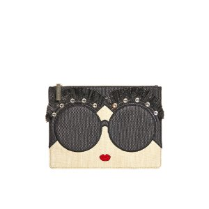 Stace Face Embellished Large Zip Pouch | Alice + Olivia