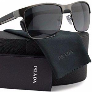 Prada Men's Polarized  Grey Rectangle Sunglasses