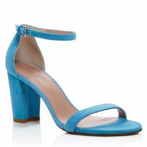 Stuart Weitzman Nearlynude Ankle Strap Block Heel Sandals | Bloomingdale's