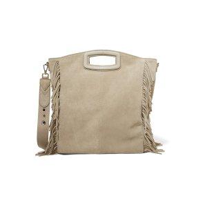 Seth leather-trimmed fringed suede shoulder bag | Maje